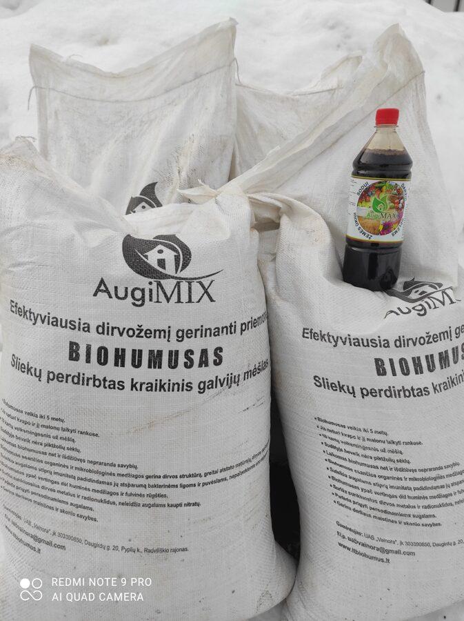 """Šiltnamio žemei atnaujinti, birus biohumusas, 240 litrų pakuotė + 1 l. """"AugiMAX"""" skystos trąšos dovanų vienam užsakymui"""